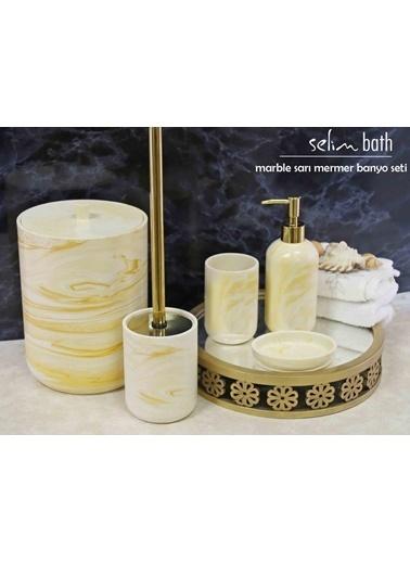 Selim Marble Sarı Banyo Seti Renkli